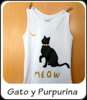 Camiseta con gato y purpurina