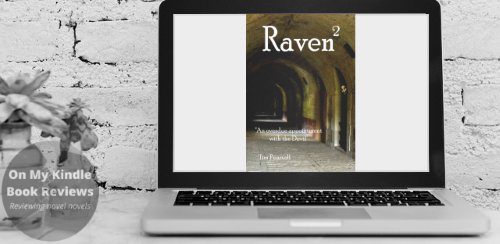 Computer monitor mockup with front cover image of RAVEN 2 by Tim Pearsall.