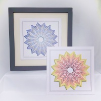 Shadow rosette modern print, prick stitch on card embroidery pattern.