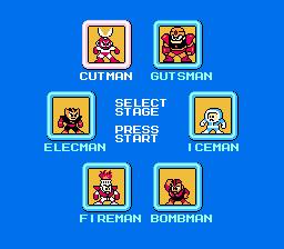 Captura de NES con las 6 fases de Mega Man