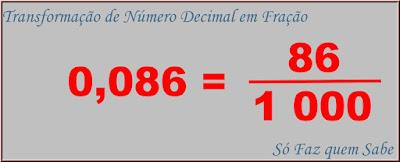 Exemplo de transformação de um número decimal em fração decimal