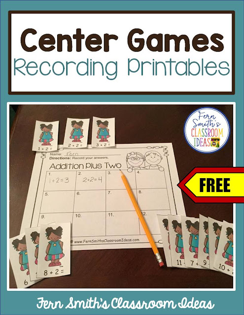 Fern Smith's Classroom Ideas Freebie Friday ~ Christmas Centers Recording Sheet Printables at TeacherspayTeachers.