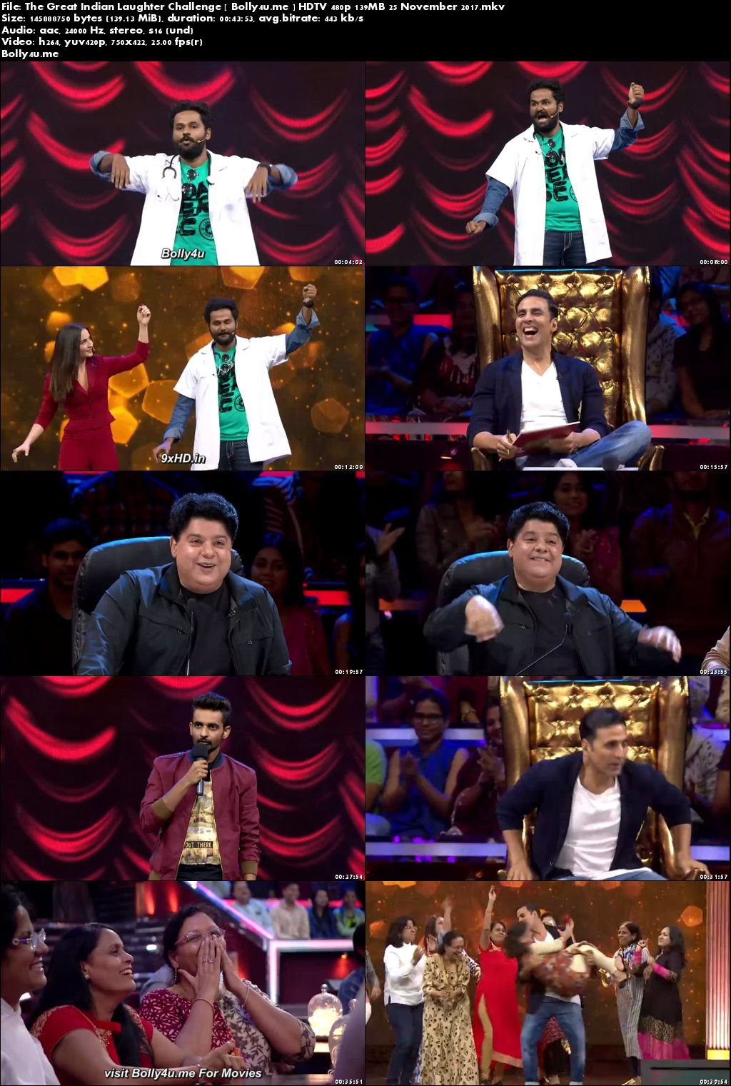 The Great Indian Laughter Challenge HDTV 480p 140MB 25 November 2017 Download