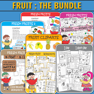 ESL Fruits Vocabulary and Grammar Worksheets Printables Flash Cards Word Cards