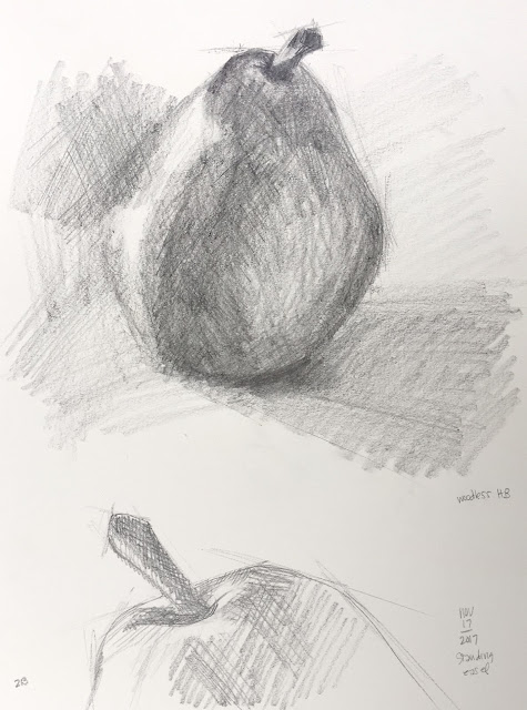 Daily Art 11-17-17 still life sketch in graphite number 18-19 - pear