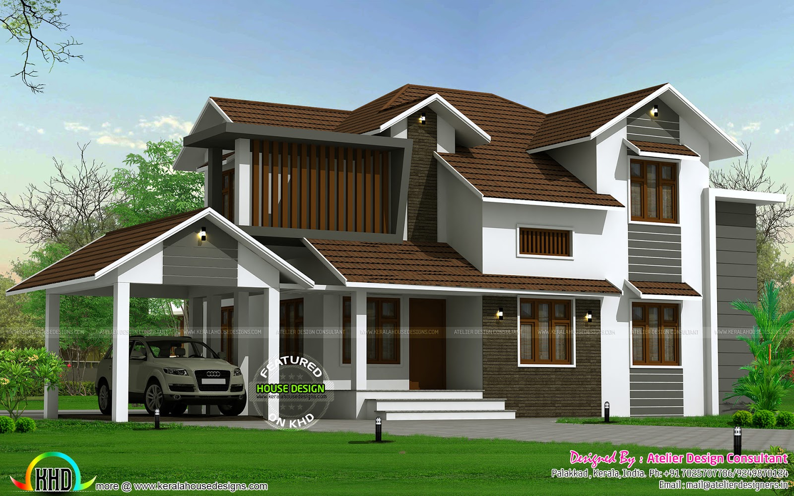 Traditional mix sloping roof home kerala home design and floor plans - Traditional houses attic ...