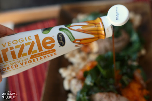 Roasted Sweet Potato and Collard Greens with Marzetti Honey Balsamic Veggie Drizzle