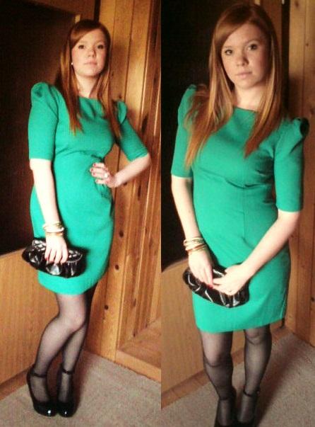 Zelené šaty z Orsay doplnila čiernymi pančucháčmi 48228528704