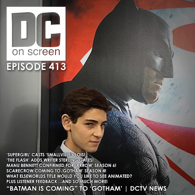 David Mazouz next to ben Affleck Batman v Superman poster