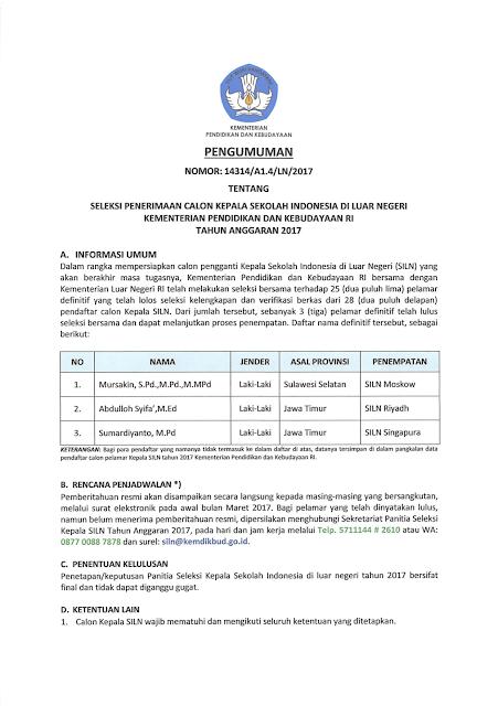Pengumuman Hasil Penerimaan Calon Kepala Sekolah Indonesia di Luar Negeri Kemendikbud Tahun 2017