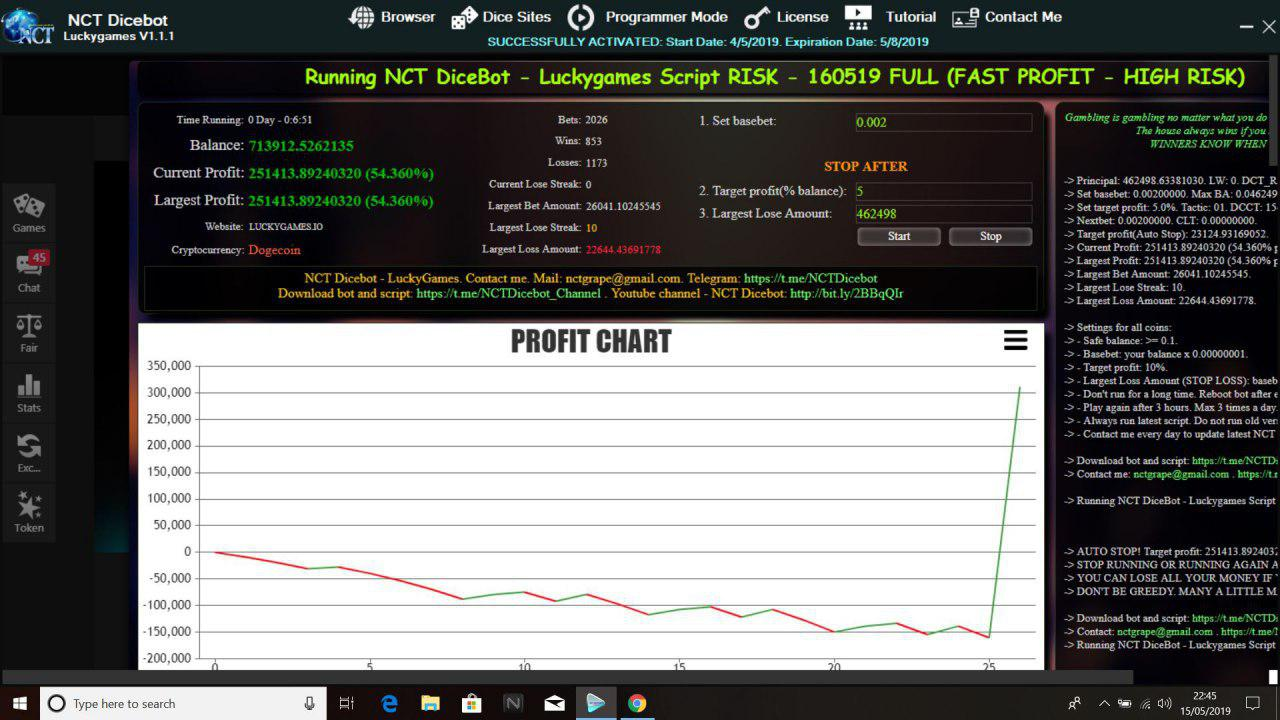 NCT DiceBot - Luckygames Script : Buyer Big Win, Fast Profit