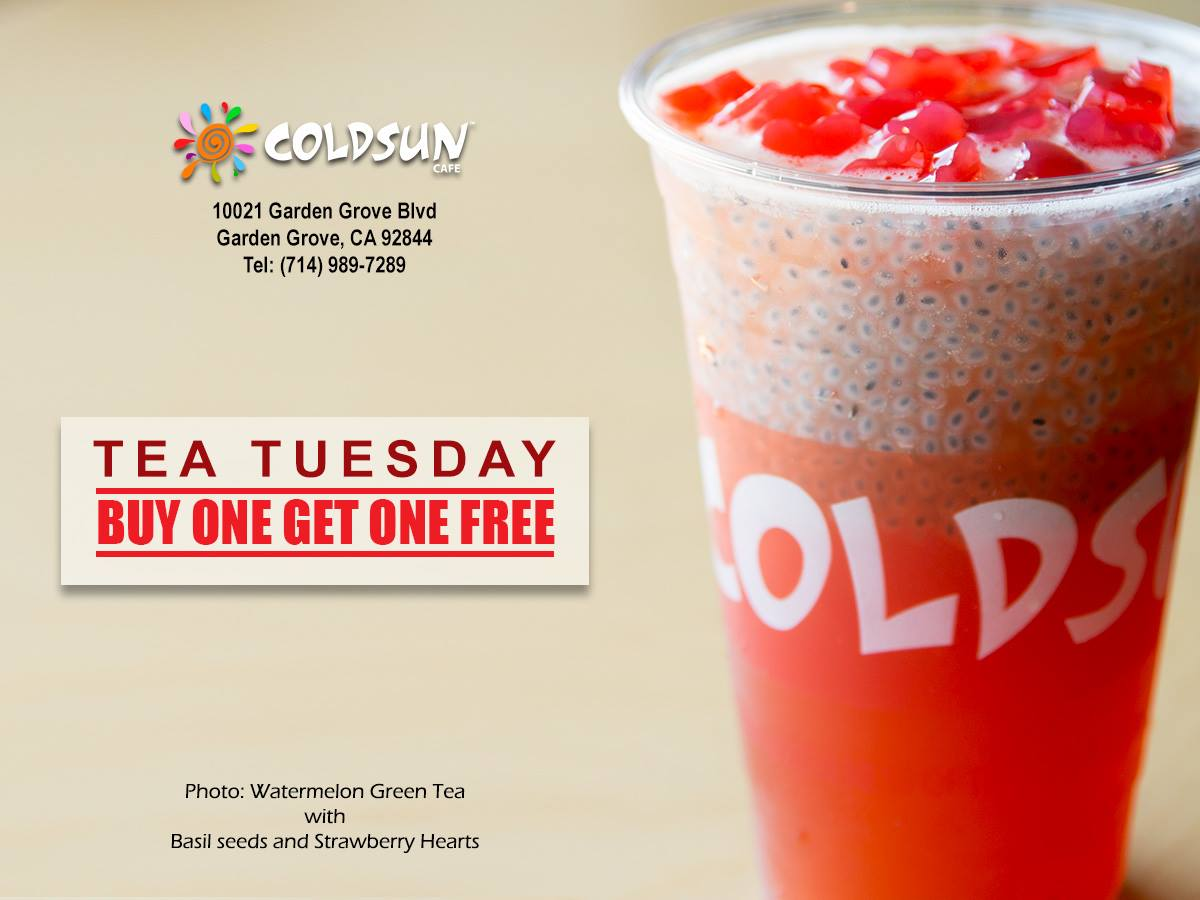 Every Tuesday | Buy 1 Get 1 Free Drinks at Coldsun - Garden Grove