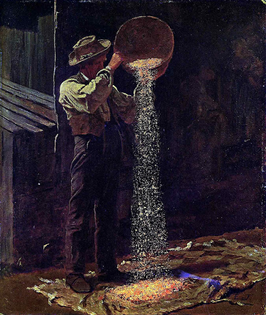 an 1875 Eastman Johnson painting, man pouring grain