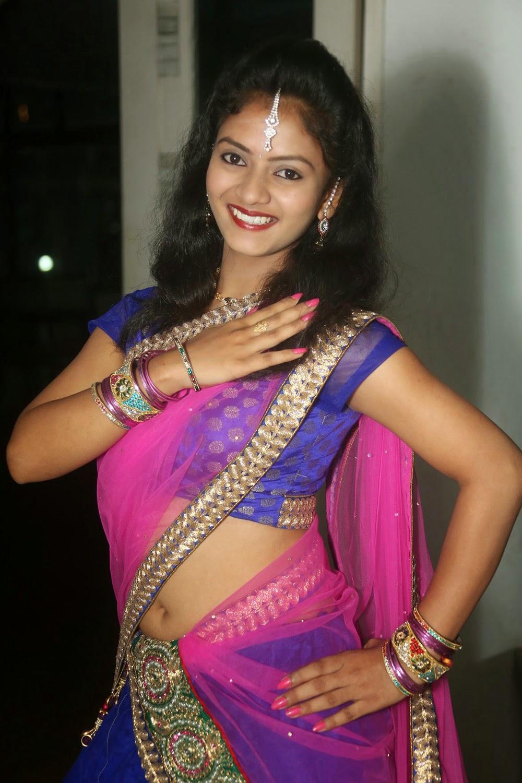 Saree Navel: Dressing Below Navel Saree: Jaya Harika Half Saree Navel
