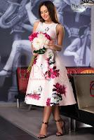 Rochie midi roz pal cu imprimeu floral