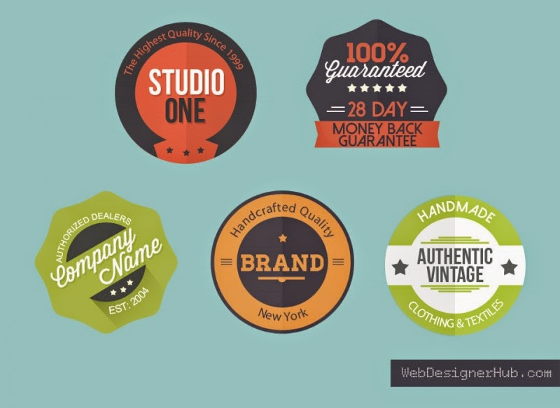 5 Flat Badges PSD