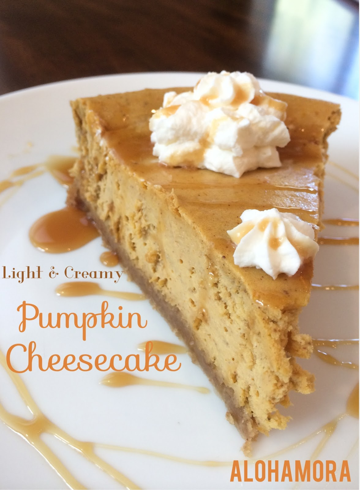 Pumpkin Cheesecake that is light and creamy and absolutely flavorful and amazing.  This cheesecake is a great alternative for those that don't like pumpkin pie, tho fans will love this pie as well.  It's not your heavy cheesecake, and it is actually relatively easy to make.  Alohamora Open a Book http://alohamoraopenabook.blogspot.com/