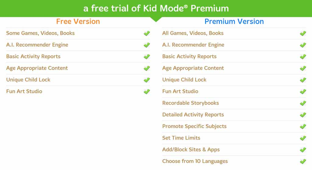 kid browser features