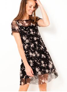 robe résille fleurie - camaieu