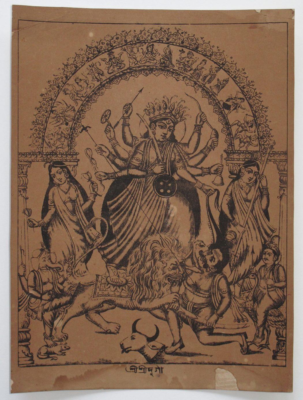 Goddess Durga - Vintage Print c1870-80's