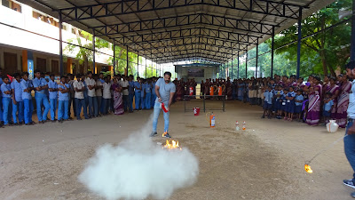 Fire Safety measures demonstrated in SEVAI Shanthi Matriculation Higher Secondary School.