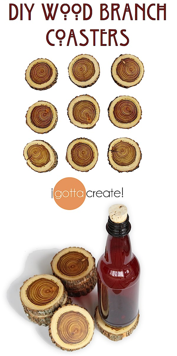 Make stunning wood coasters easily from a pruned tree branch. Perfect for #fathersday or #housewarming gift | #tutorial at I Gotta Create!