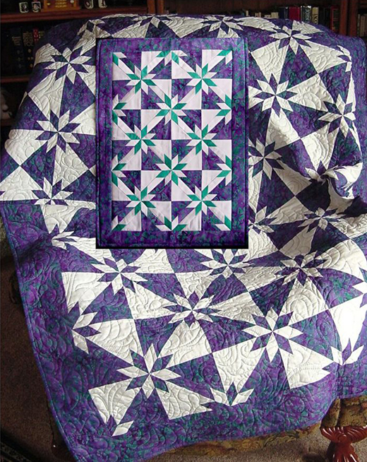 Purple Hunter's Star Quilt by Peggy Gelbrich of Quilt Woman, The Pattern by AccuQuilt, it's available for free.
