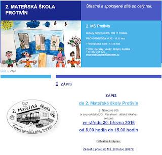 Zápis do 2. Mateřské školy v Protivíně