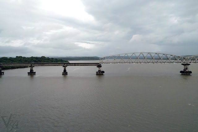 Konkan Railway Bridge as seen from the Zuari Bridge