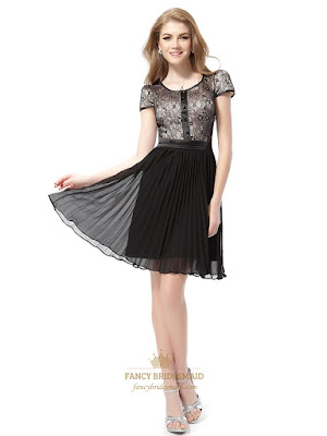 black cocktail dresses with short sleeves