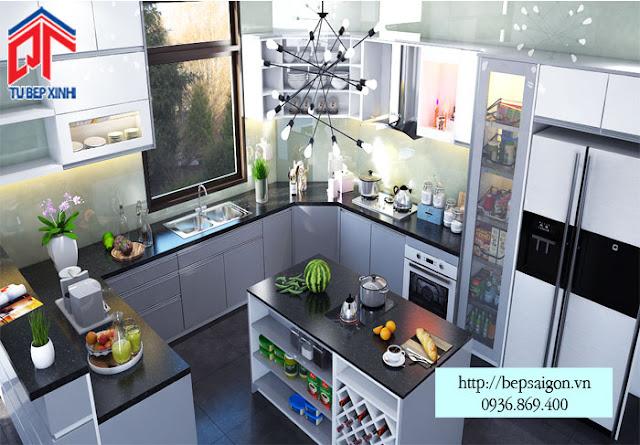 Tủ bếp chữ U kết hợp đảo bếp và quầy bar tiện dụng