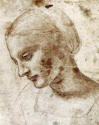 Drawing Leonardo da Vinci 1490 Study of a woman Ντα Βίντσι, σπουδή για γυναικείο κεφάλι, 1490.