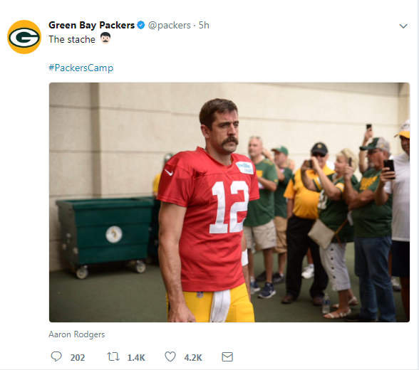 Kenneth In The 212 Aaron Rodgers S Mustache Reports To Fudge Packers Camp