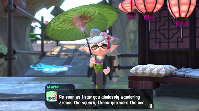 Splatoon 2 Marie oriental Asian clothing parasol umbrella gown kimono aimlessly wandering around the square