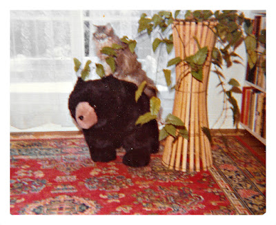 Vintage picture of a grey cat sitting on a stuffed bear in 1977 at 1776 Sweetwood Drive in Broadmoor, California