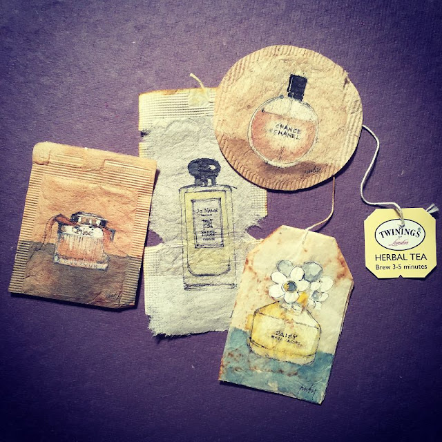 Drawing on a tea bag paper