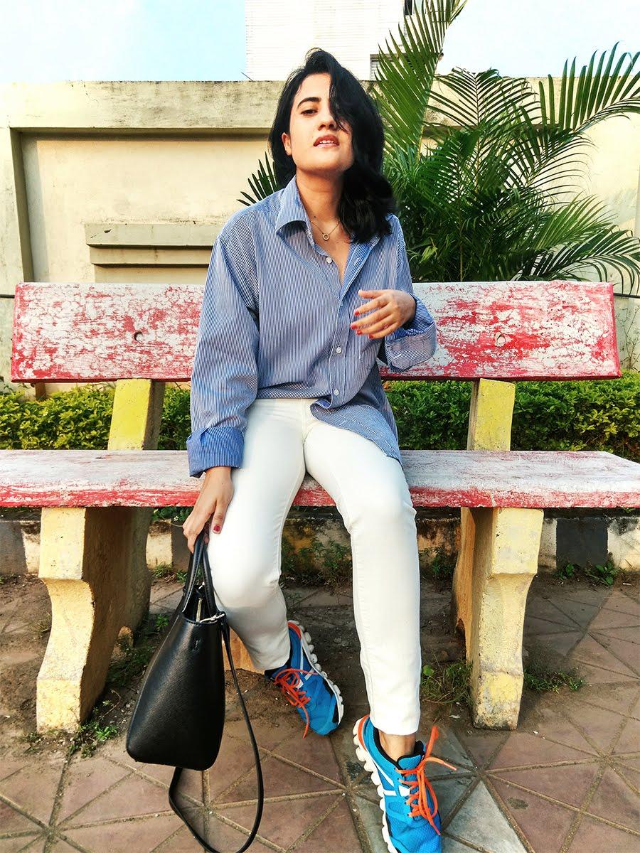 striped blue shirt ,Levi's white denim, Reebok Hexaffect shoes,indianstyleblogger