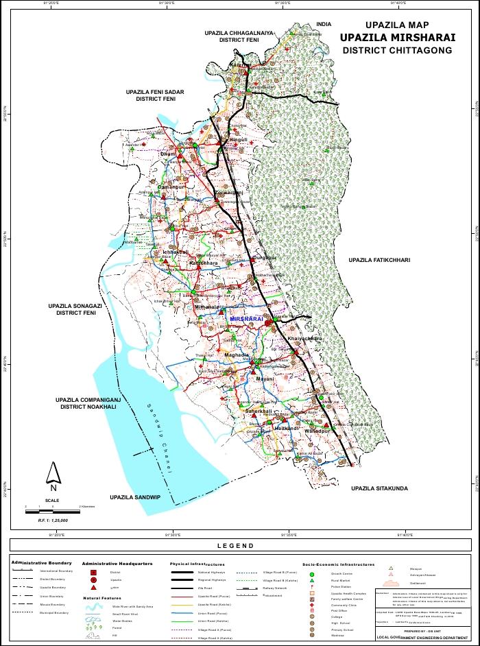 Mirsharai Upazila Map Chittagong District Bangladesh