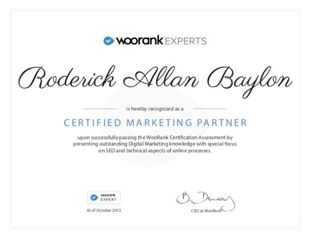 Certified WooRank Expert - Roderick Baylon