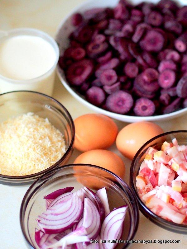 farsz do zapiekanki, przepis na tarte, quiche z marchewka, nadzienie, fioletowa marchewk, czarna marchewka, warzywa