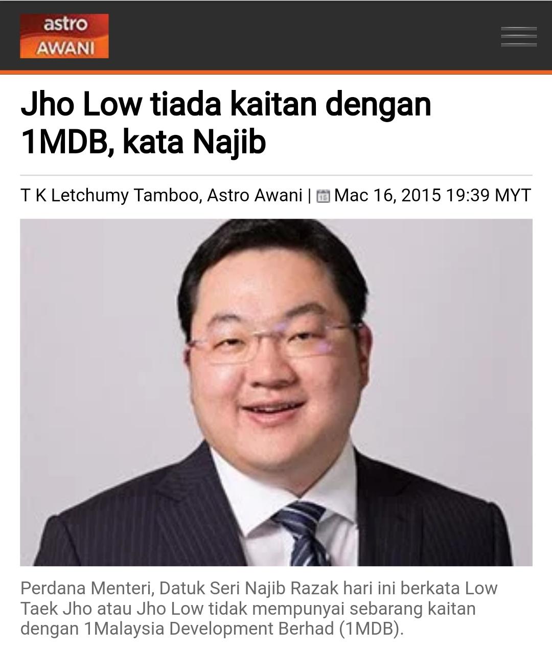 Jho Low Tiada Kaitan