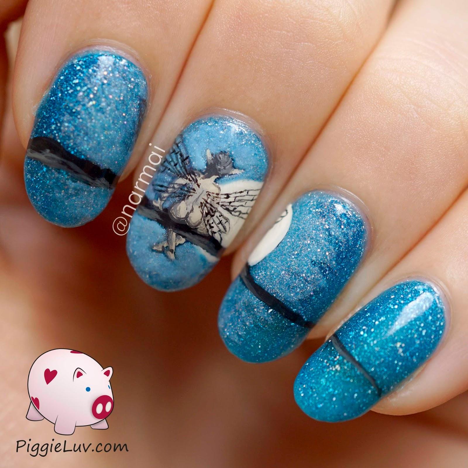 PiggieLuv: 'Cheeky' midnight fairy nail art