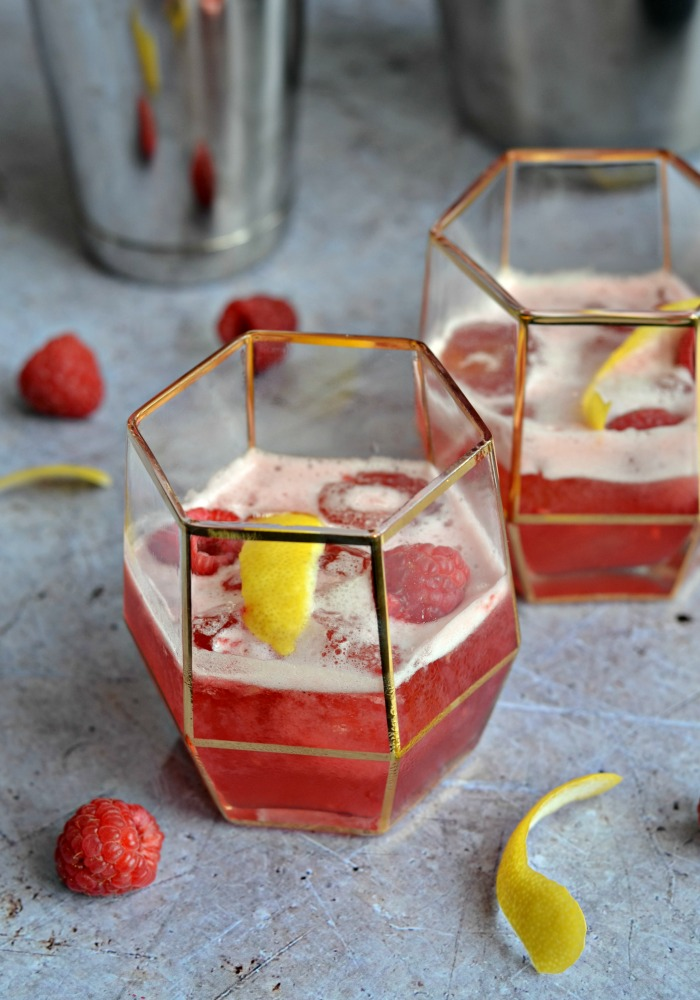 Raspberry Chambord and Gin sour