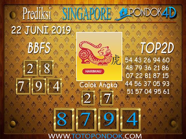 Prediksi Togel SINGAPORE PONDOK4D 22 JUNI 2019