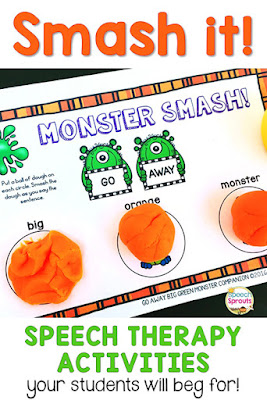 How to use exciting hands-on speech therapy activities like smash mats to engage children and get the most out of your speech and language sessions.This monster smash mat has bright orange balls of dough to smash as you say the sentence. www.speechsproutstherapy.com
