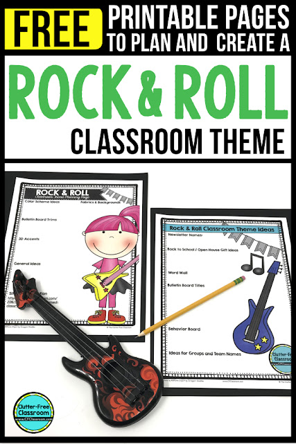 ROCK AND ROLL Theme Classroom: If you're an elementary teacher who is thinking about a ROCKSTAR or ROCK N ROLL theme then this classroom decor blog post is for you. It'll make decorating for back to school fun and easy. It's full of photos, tips, ideas, and free printables to plan and organize how you will set up your classroom and decorate your bulletin boards for the first day of school and beyond.