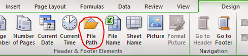 Insert File Path in Excel 2010