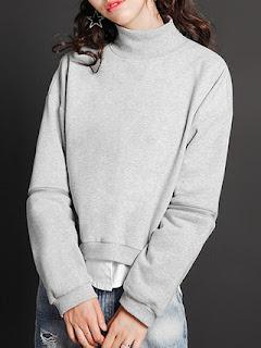 Light Gray Cotton-blend Turtleneck Long Sleeve Plain Sweatshirt OTHER CRAZY Light Gray Cotton-blend Turtleneck Long Sleeve Plain Sweatshirt StyleWe review