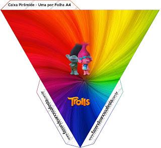 Caja con forma de pirámide de Trolls.