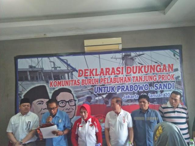 Buruh Pelabuhan Tanjung Priok Deklarasi Dukung Prabowo-Sandi